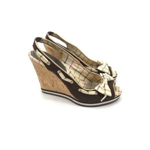COACH 'TWIRLING' BROWN CORK WEDGES